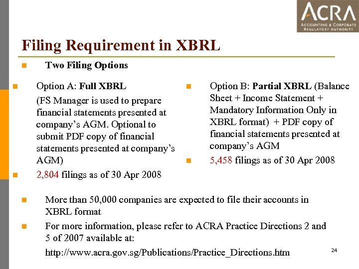 Filing Requirement in XBRL n Two Filing Options Option A: Full XBRL (FS Manager