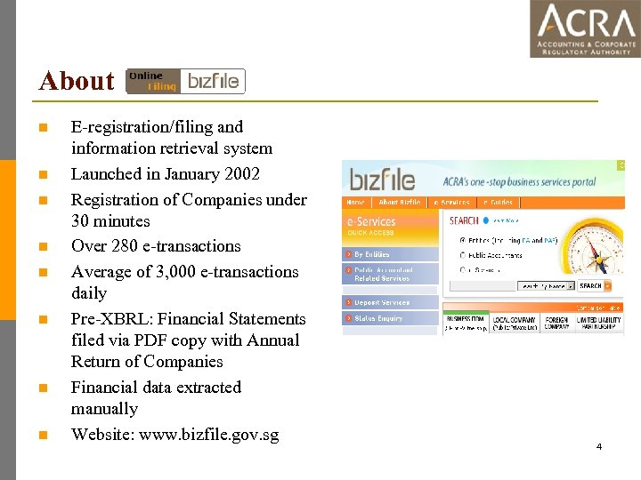 About n n n n E-registration/filing and information retrieval system Launched in January 2002