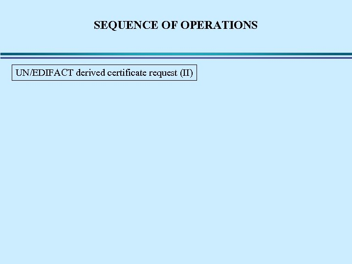 SEQUENCE OF OPERATIONS UN/EDIFACT derived certificate request (II)