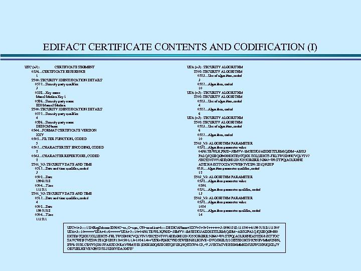 EDIFACT CERTIFICATE CONTENTS AND CODIFICATION (I) USC (v 3) : CERTIFICATE SEGMENT 0536. .