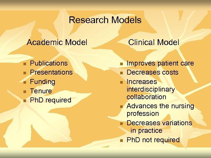 Research Models Academic Model n n n Publications Presentations Funding Tenure Ph. D required