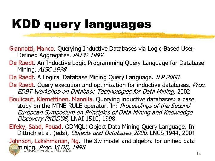KDD query languages Giannotti, Manco. Querying Inductive Databases via Logic-Based User. Defined Aggregates. PKDD