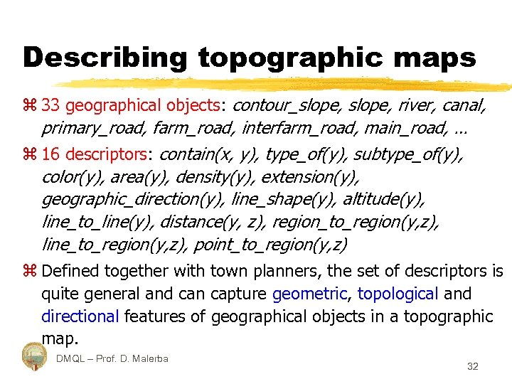 Describing topographic maps z 33 geographical objects: contour_slope, river, canal, primary_road, farm_road, interfarm_road, main_road,