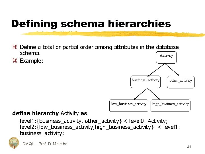 Defining schema hierarchies z Define a total or partial order among attributes in the