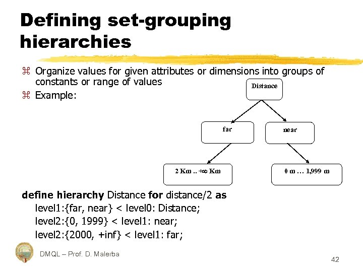 Defining set-grouping hierarchies z Organize values for given attributes or dimensions into groups of