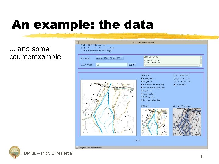 An example: the data … and some counterexample DMQL – Prof. D. Malerba 45