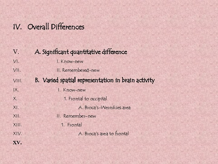 IV. Overall Differences V. A. Significant quantitative difference VI. I. Know-new VII. Remembered-new VIII.