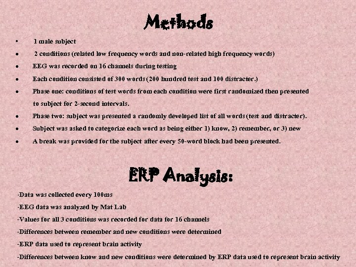 Methods • 1 male subject · 2 conditions (related low frequency words and non-related