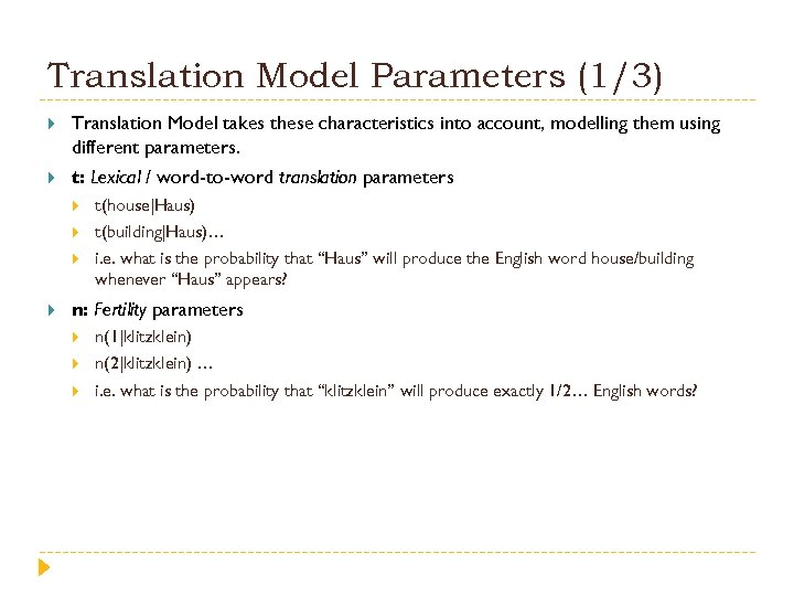 Translation Model Parameters (1/3) Translation Model takes these characteristics into account, modelling them using