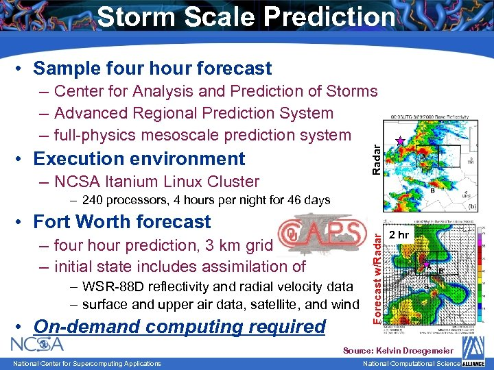 Storm Scale Prediction • Sample four hour forecast Radar – Center for Analysis and