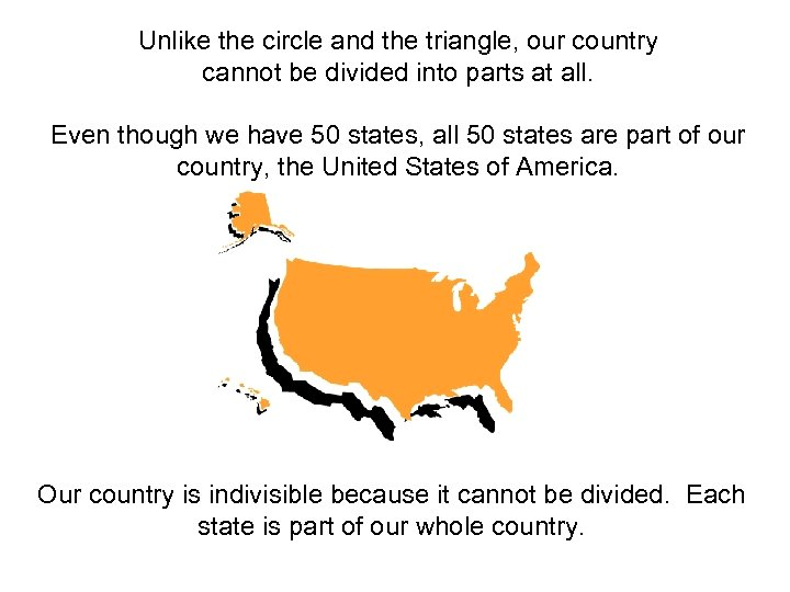 Unlike the circle and the triangle, our country cannot be divided into parts at