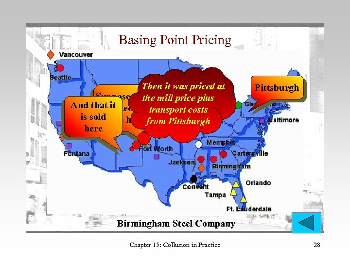 Basing Point Pricing Then it was priced at Suppose that mill price plus the