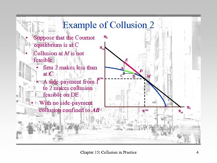 Example of Collusion 2 • Suppose that the Cournot p 2 equilibrium is at