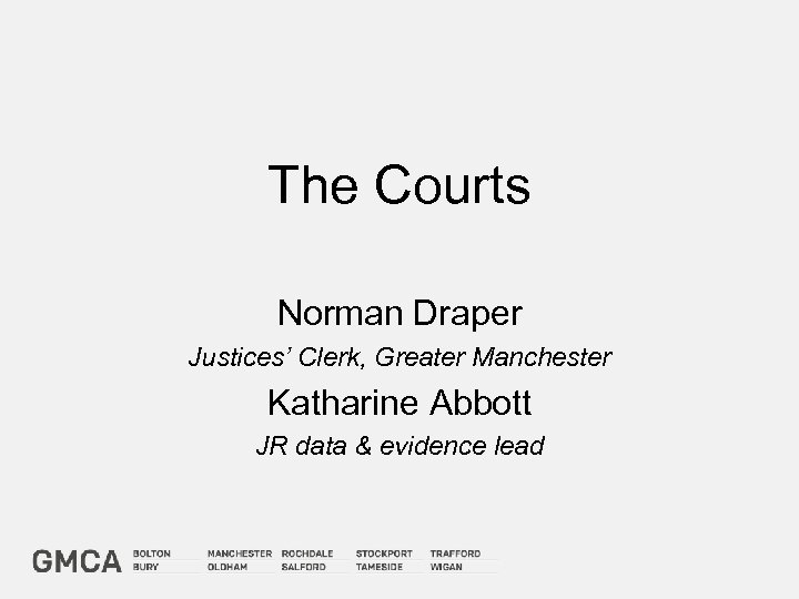 The Courts Norman Draper Justices' Clerk, Greater Manchester Katharine Abbott JR data & evidence