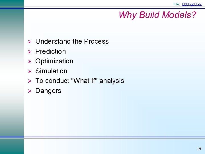 File: C 08 Fig 08. xls Why Build Models? Ø Ø Ø Understand the