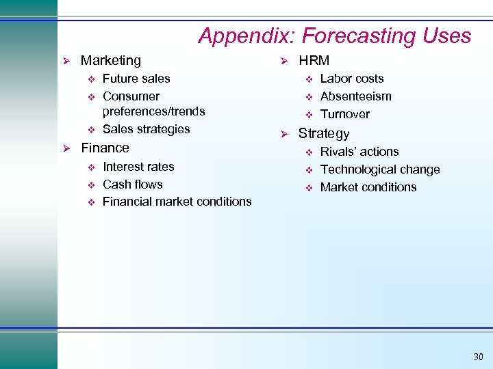 Appendix: Forecasting Uses Ø Marketing v v v Ø Future sales Consumer preferences/trends Sales