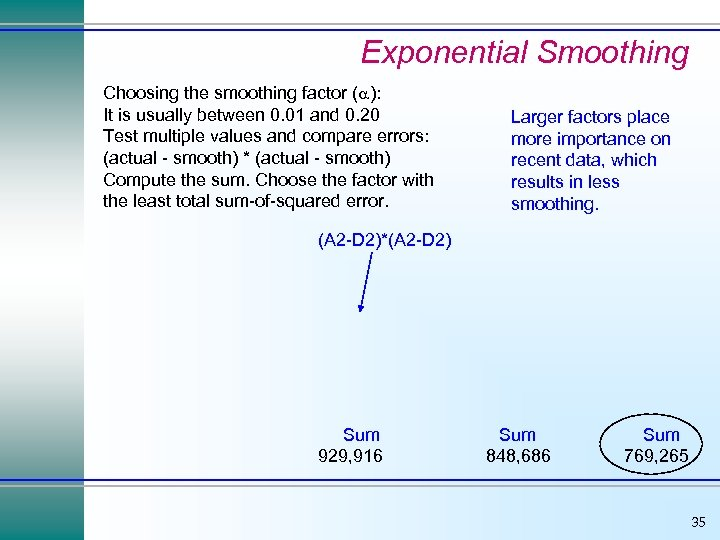 Exponential Smoothing Choosing the smoothing factor ( ): It is usually between 0. 01