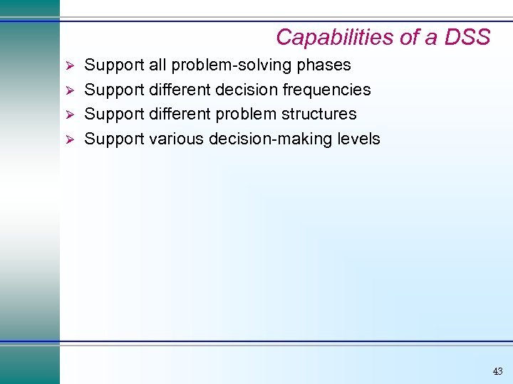 Capabilities of a DSS Ø Ø Support all problem-solving phases Support different decision frequencies