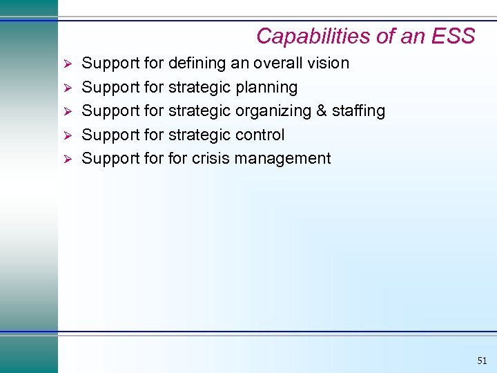 Capabilities of an ESS Ø Ø Ø Support for defining an overall vision Support