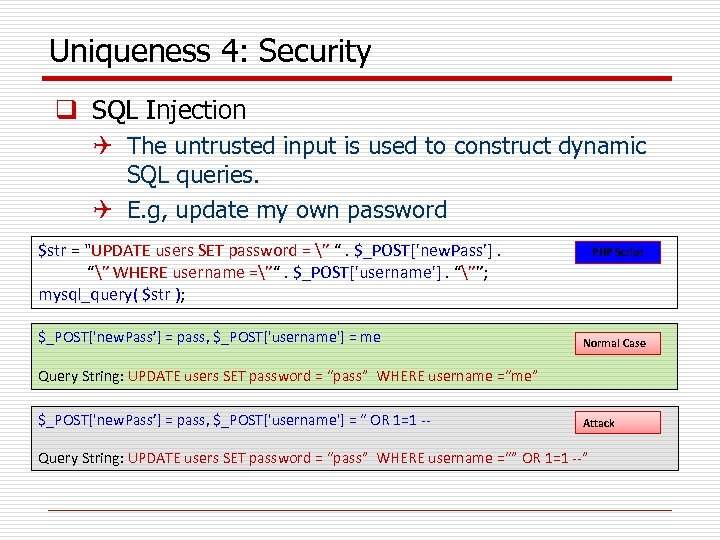 Uniqueness 4: Security q SQL Injection Q The untrusted input is used to construct