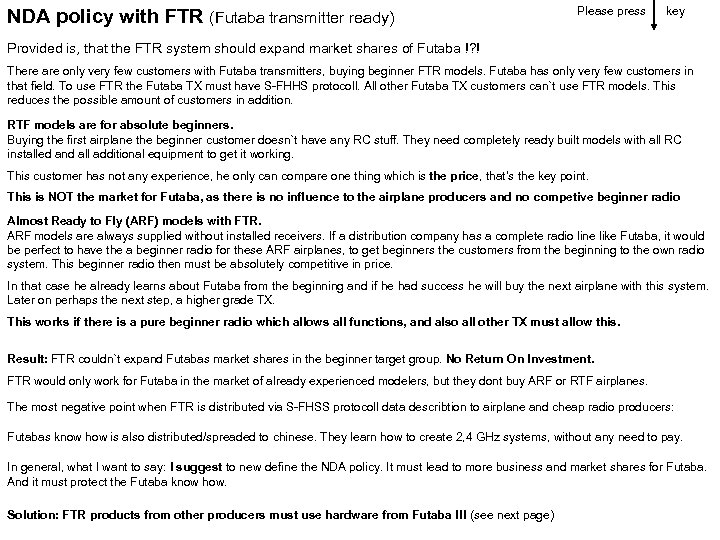 NDA policy with FTR (Futaba transmitter ready) Please press key Provided is, that the