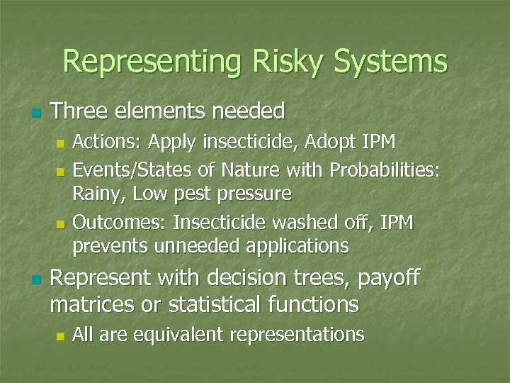 Representing Risky Systems n Three elements needed Actions: Apply insecticide, Adopt IPM n Events/States