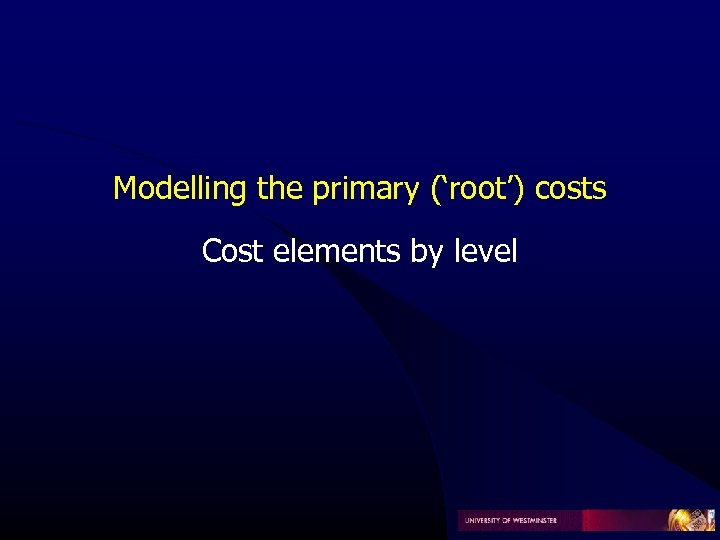 Modelling the primary ('root') costs Cost elements by level
