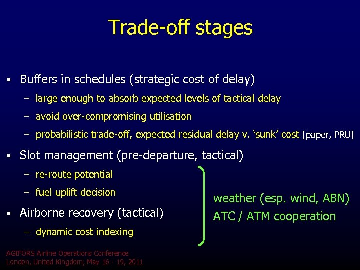 Trade-off stages § Buffers in schedules (strategic cost of delay) – large enough to