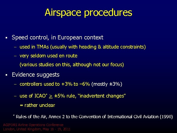 Airspace procedures § Speed control, in European context – used in TMAs (usually with