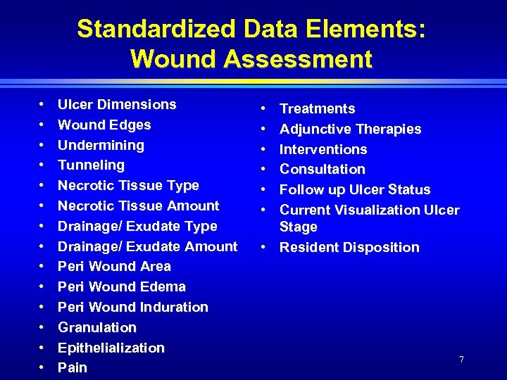 Standardized Data Elements: Wound Assessment • • • • Ulcer Dimensions Wound Edges Undermining