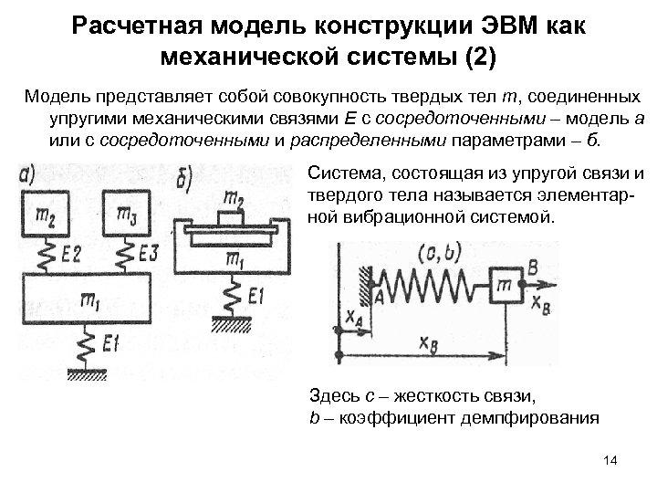 Расчетная модель конструкции ЭВМ как механической системы (2) Модель представляет собой совокупность твердых тел