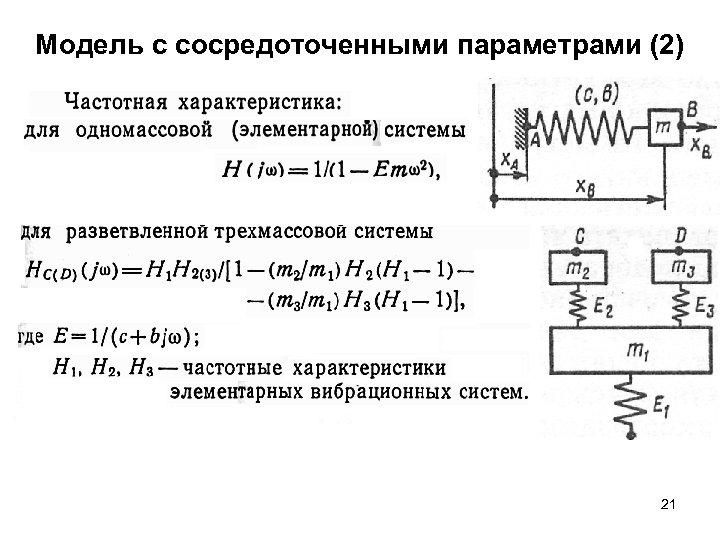 Модель с сосредоточенными параметрами (2) 21