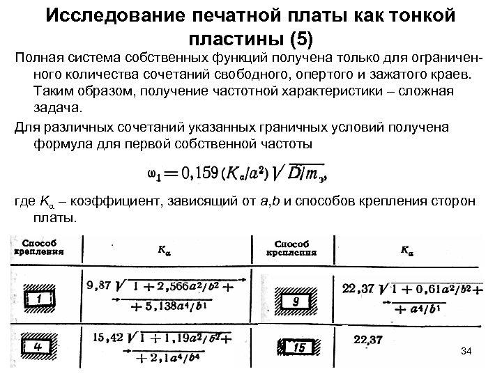 Исследование печатной платы как тонкой пластины (5) Полная система собственных функций получена только для