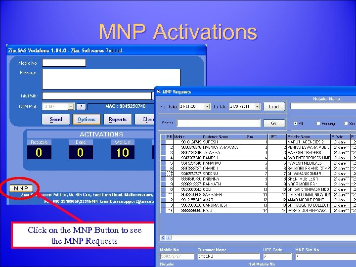 MNP Activations Click on the MNP Button to see the MNP Requests