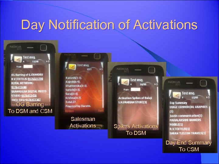 Day Notification of Activations OG Barring To DSM and CSM Salesman Activations Spikes Activations