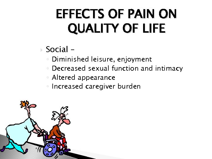 EFFECTS OF PAIN ON QUALITY OF LIFE Social – ◦ ◦ Diminished leisure, enjoyment