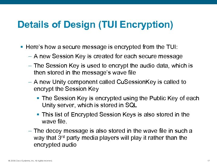 Details of Design (TUI Encryption) § Here's how a secure message is encrypted from