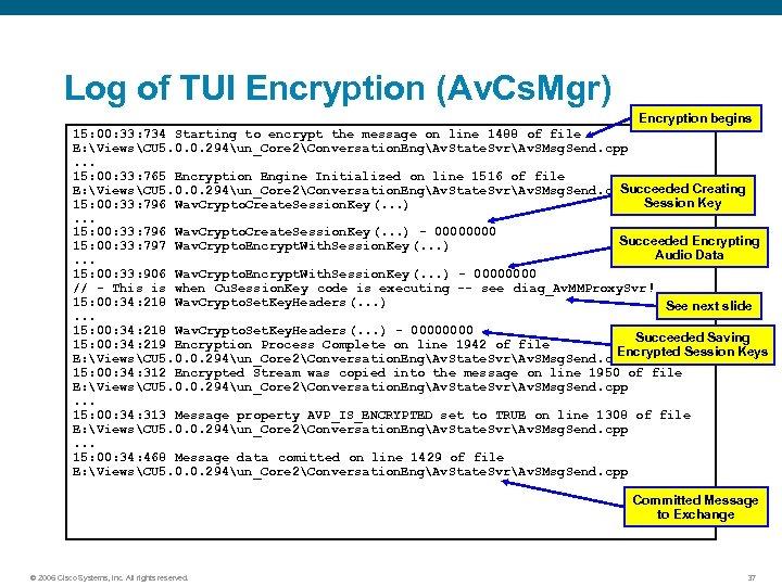 Log of TUI Encryption (Av. Cs. Mgr) Encryption begins 15: 00: 33: 734 Starting