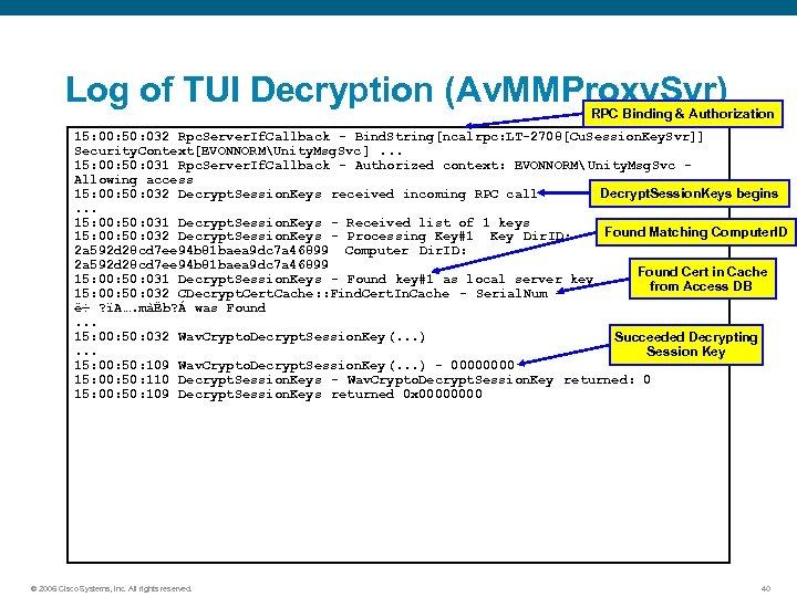 Log of TUI Decryption (Av. MMProxy. Svr) RPC Binding & Authorization 15: 00: 50: