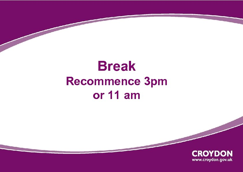 Break Recommence 3 pm or 11 am
