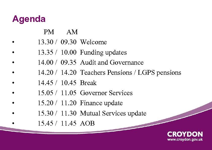 Agenda • • • PM 13. 30 / 13. 35 / 14. 00 /