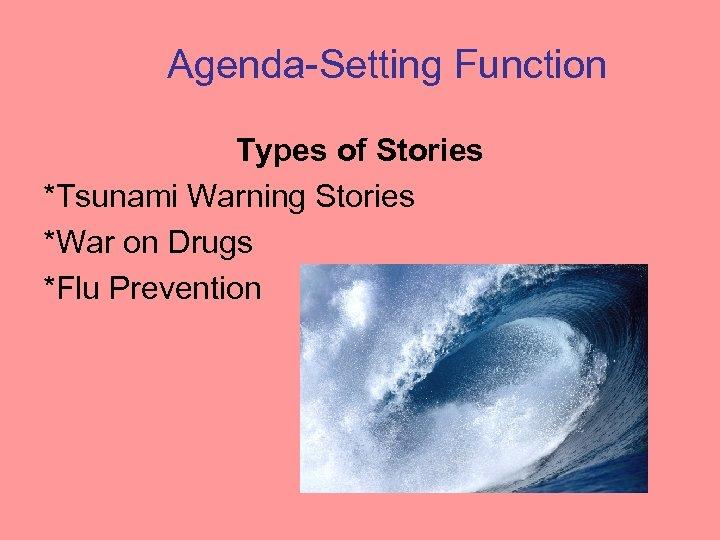 Agenda-Setting Function Types of Stories *Tsunami Warning Stories *War on Drugs *Flu Prevention