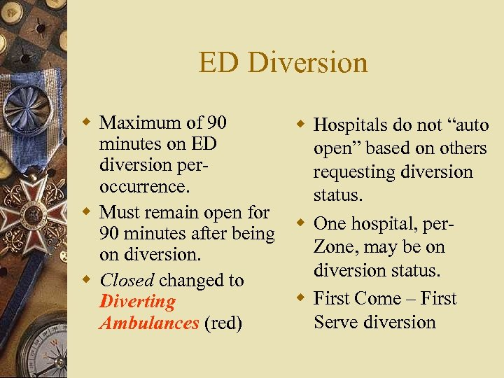 """ED Diversion w Maximum of 90 w Hospitals do not """"auto minutes on ED"""