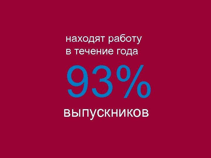 находят работу в течение года 93% выпускников
