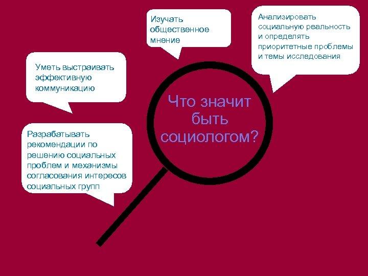 Изучать общественное мнение Уметь выстраивать эффективную коммуникацию Разрабатывать рекомендации по решению социальных проблем и