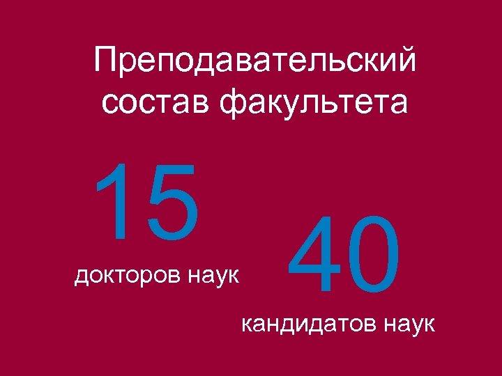 Преподавательский состав факультета 15 докторов наук 40 кандидатов наук