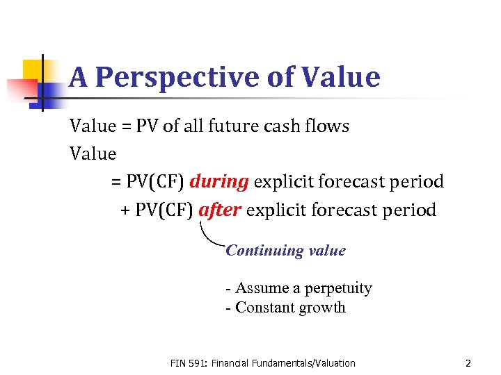 A Perspective of Value = PV of all future cash flows Value = PV(CF)
