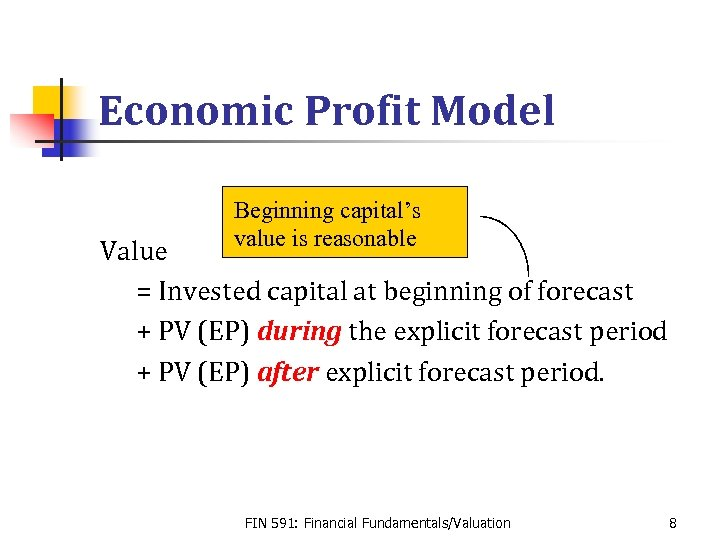 Economic Profit Model Beginning capital's value is reasonable Value = Invested capital at beginning