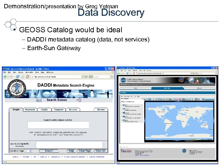 Demonstration/presentation by Greg Yetman Data Discovery • GEOSS Catalog would be ideal –