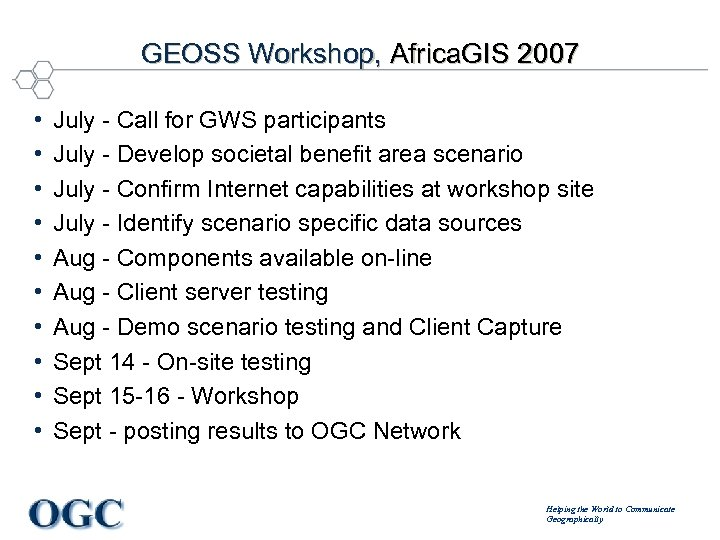 GEOSS Workshop, Africa. GIS 2007 • • • July - Call for GWS participants